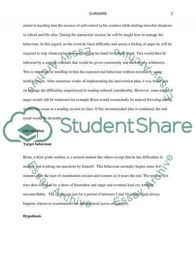 Behavior Management Project essay example