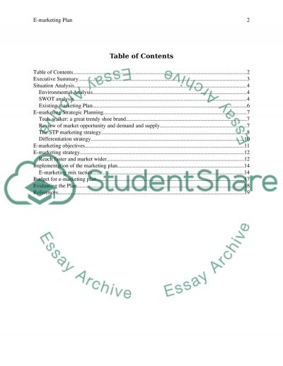 INTERNET MARKETING PLAN: essay example
