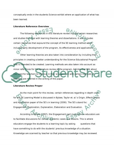 Literature Review for Program Design essay example