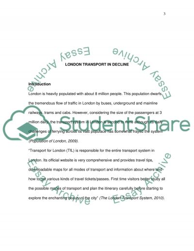 Transport System of London essay example