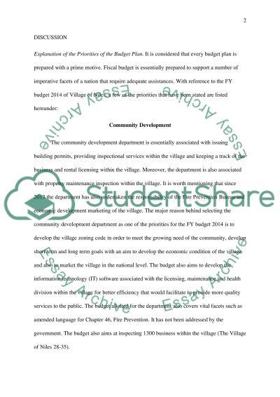 Budget of a city essay example