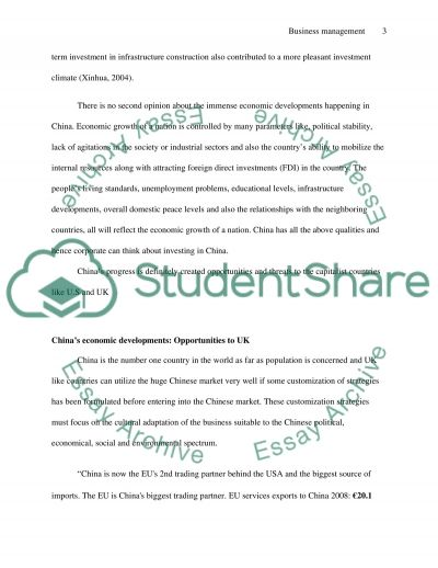 Business management essay example