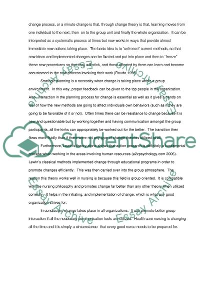 Change Theory essay example