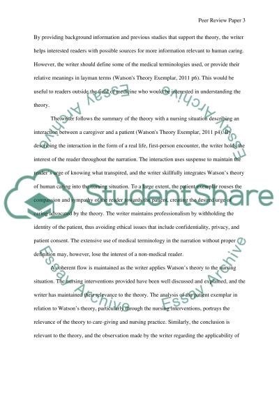 Peer Review Paper for Watsons Theory Exemplar essay example