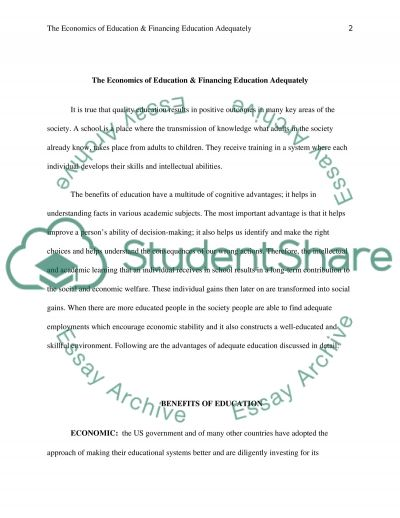 The Economics of Education & Financing Education Adequately essay example