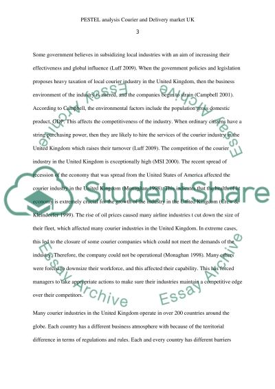 PESTEL analysis Courier and Delivery market UK essay example