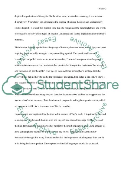 argument analysis of mother tongue by amy tan essay argument analysis of mother tongue by amy tan essay example text preview
