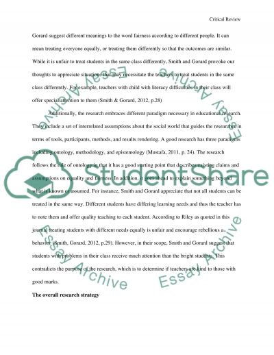 Critical Review of an Article on Teachers Behavior to Students essay example