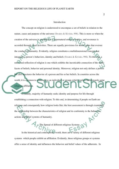 Report on the Religious Life of Planet Earth essay example