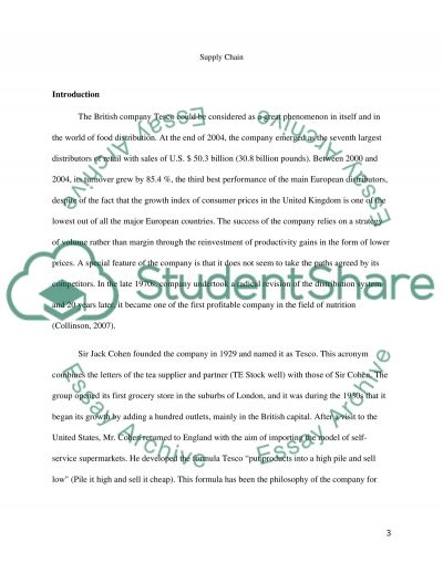 Supply chain essay example