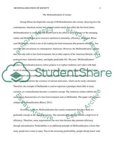 mcdonaldization thesis summary