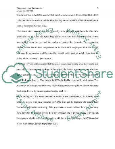 Communication in Economics essay example