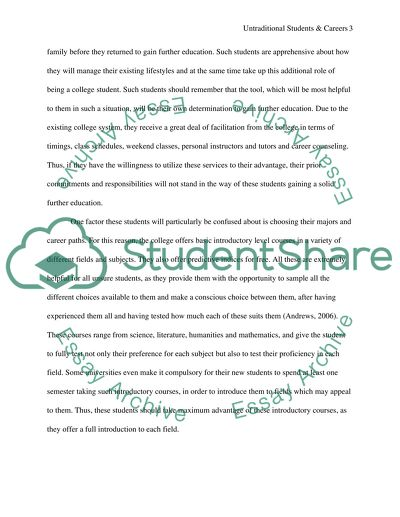 Untraditional Students And Careers Essay Example  Topics And Well  Untraditional Students And Careers