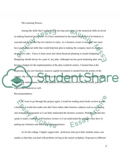 Reflection R-Rent A Car essay example