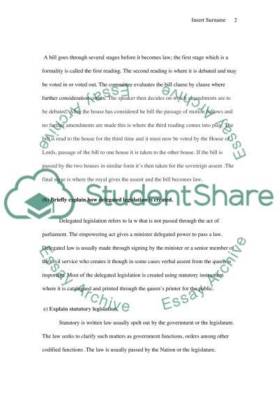 Lawmaking essay example