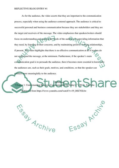 Reflective Blog Entry #1