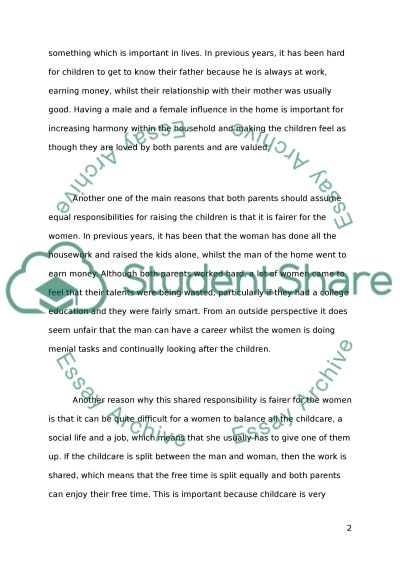 should both parents assume equal responsibility in raising related essays parents and children relationships