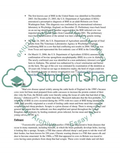 Mad Cow Disease Case Study essay example