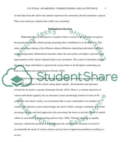 Cultural Awareness, Understanding, and Acceptance essay example