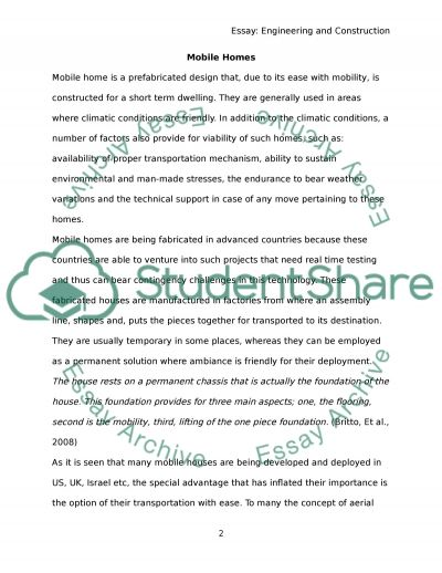 Mobile home essay example
