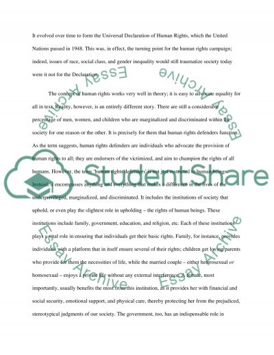 Education as a Primary Defender of Human Rights essay example