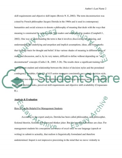 Assignment for Critical Perspectives on Management essay example