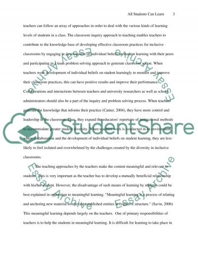All Students Can Learn essay example