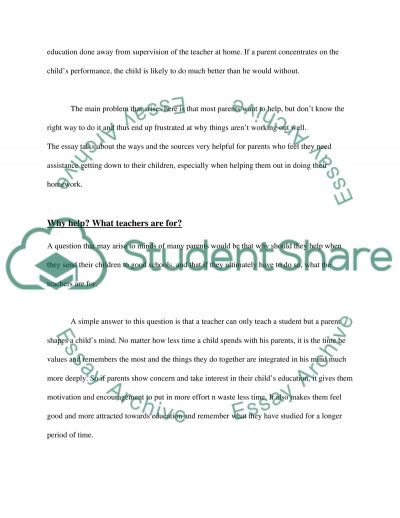 Parent Education and Learning at Home essay example