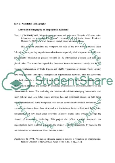 Bibliographic details on ten sources relevant to employment relations Annotated Bibliography example