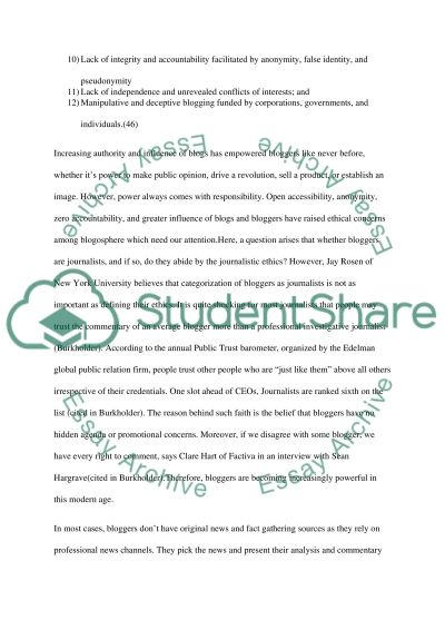 Ethical issues related to blogging and the internet essay example
