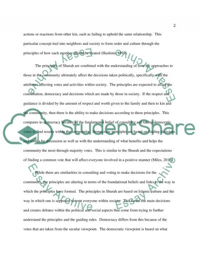 Islamic Culture-Comparing the principles of Shoora (Shurah) and democracy essay example