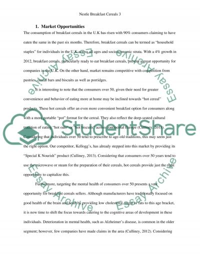 A Nestle breakfast cereal (market opportunities, product strategy and next steps) essay example