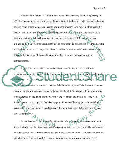 Love essay example