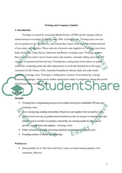 Twining and Company Limited essay example