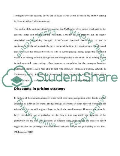 Pricing and Distribution in Marketing Decisions for McDonalds Co Research Paper example