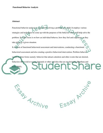 Functional Behaviour Analysis educ6162