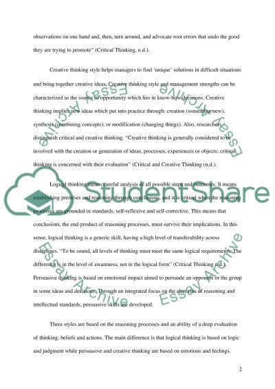 Thinking Styles essay example