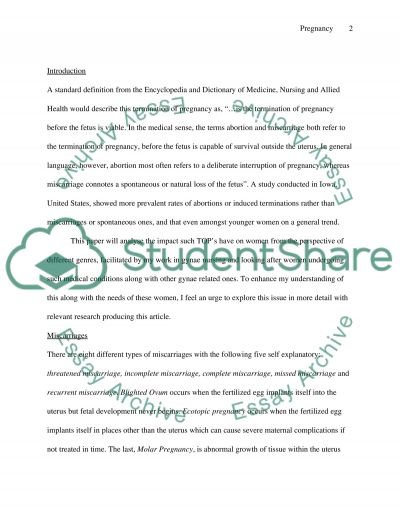 Termination of Pregnancy on Women essay example