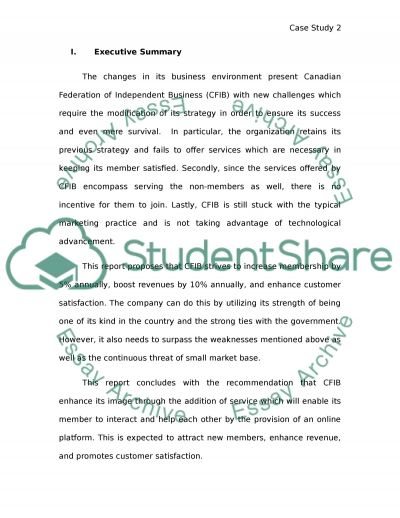 Canadian Federation of Independent Businesses essay example
