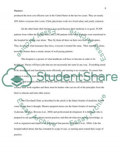 The Masters Prepared Nurse essay example