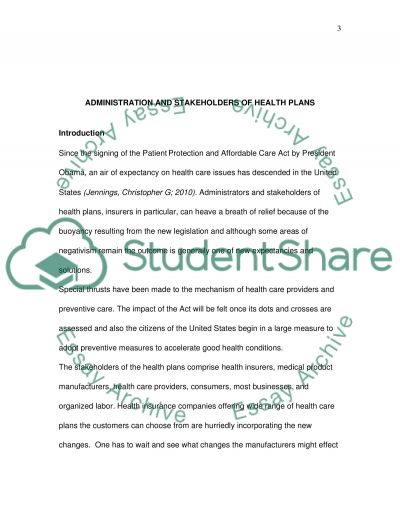 Administration and Stakeholders of Health Plans essay example