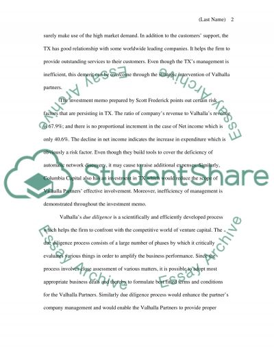 Valhalla Partners Due Diligence essay example