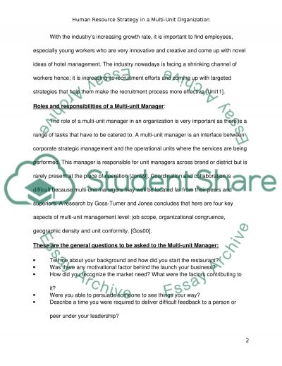 Human Resource Strategy in Multi-Unit Service Organisations essay example
