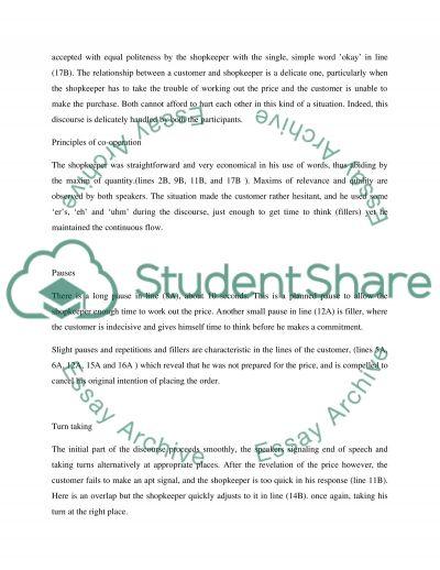 Conversation analysis essay example