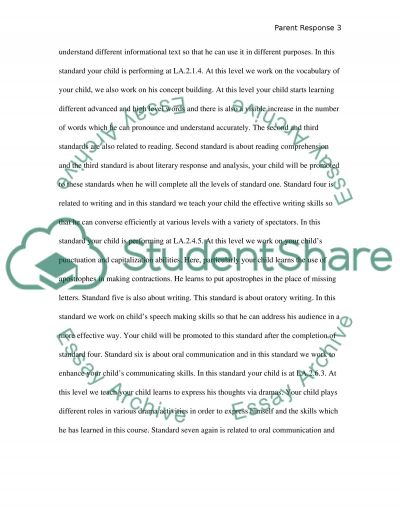 Parent Response Reflection essay example