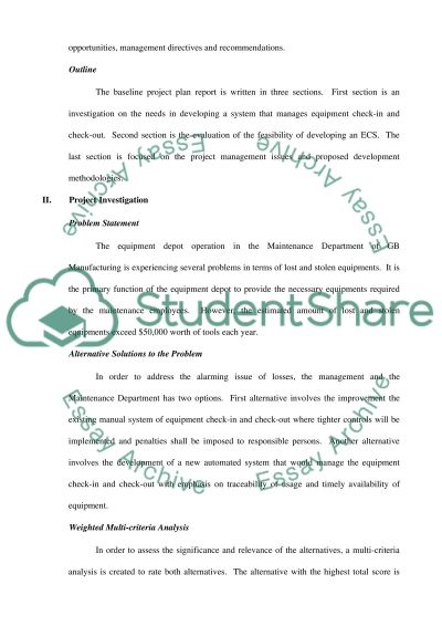 Baseline Project Plan for GB Manufacturing Equipment Check-out System essay example