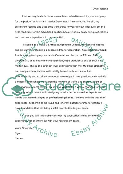 Cover letter Essay Example | Topics and Well Written Essays ...