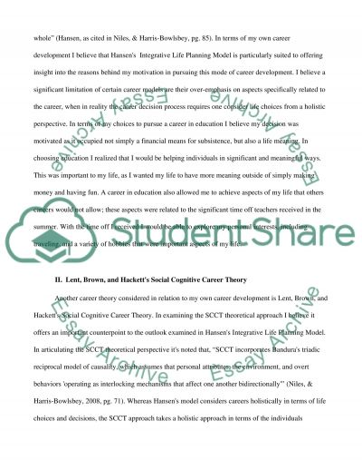 Career counseling/career assessment project essay example
