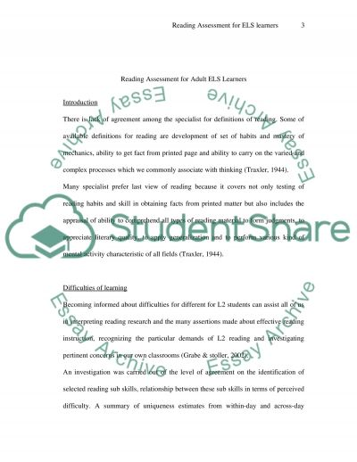 Reading Assessment for Adult ELS Learners essay example