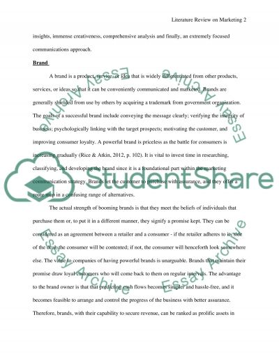 Literature Review on Marketing essay example